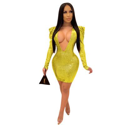 Yellow   Skinny deep V sequin cross-border dress