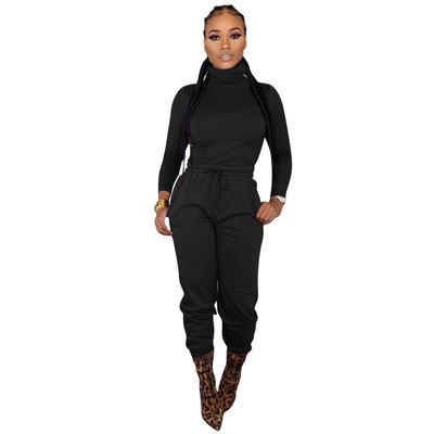 Black  Two-piece cross-border women's wear with waist tie