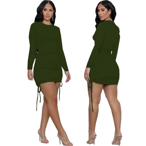 Green Sexy fashion women's stitching dress