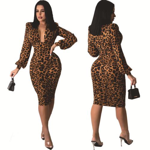 Leopard Sexy fashion white-collar night ladies V-neck dress