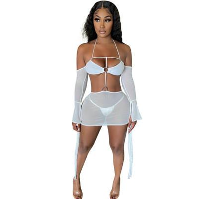White   Multicolor sexy suspender halter neck mesh dress