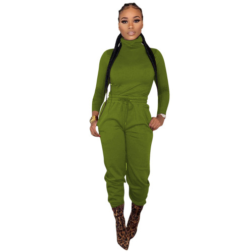 Dark green    Two-piece cross-border women's wear with waist tie