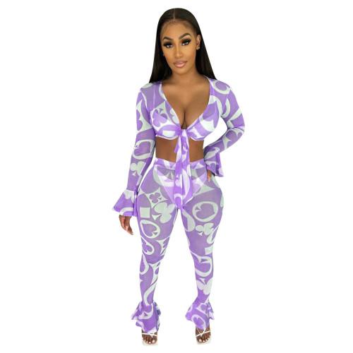 Purple  Fashion sexy mesh printed two-piece ruffled set