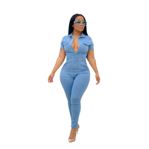 Women's short-sleeved casual women's denim jumpsuit