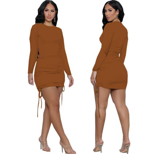 Brown Sexy fashion women's stitching dress