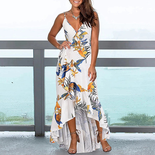 Printed sexy sling open back ruffled irregular dress