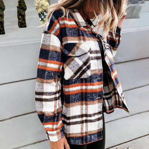 Orange Plaid long-sleeved cardigan single-breasted casual all-match jacket