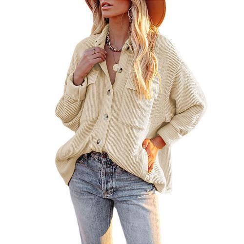 Khaki Solid Color Loose Corduroy Pocket Long Sleeve Cardigan Jacket