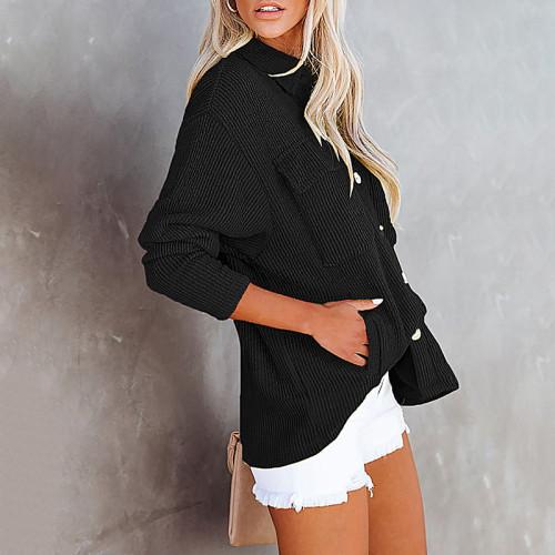 Solid Color Loose Corduroy Pocket Long Sleeve Cardigan Jacket