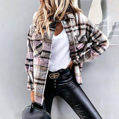 Plaid long-sleeved cardigan single-breasted casual all-match jacket