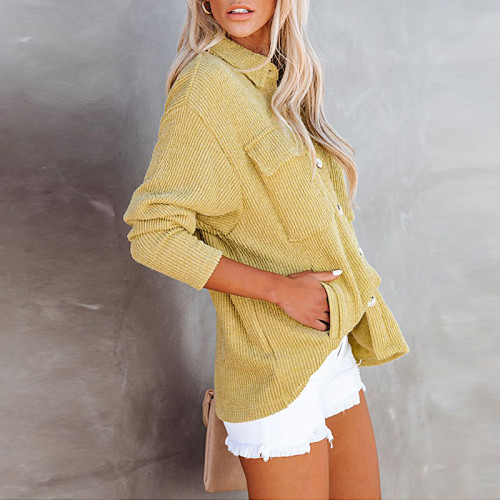 Yellow Solid Color Loose Corduroy Pocket Long Sleeve Cardigan Jacket