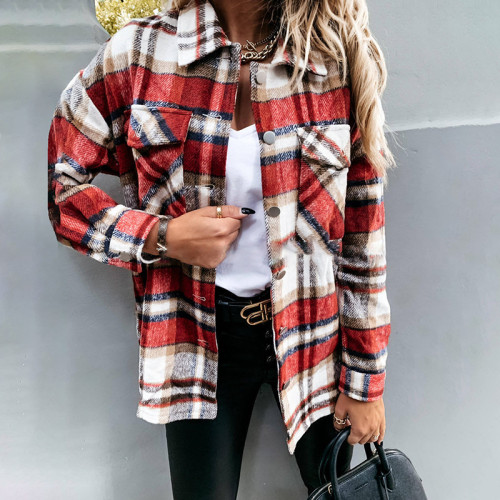 Red Plaid long-sleeved cardigan single-breasted casual all-match jacket