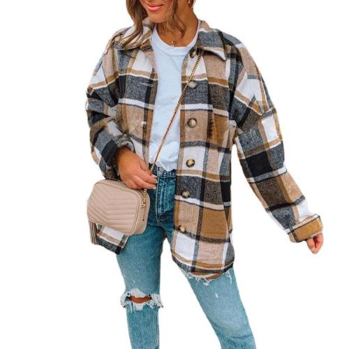 Khaki Long Sleeve Lapel Loose Plaid Shirt Jacket