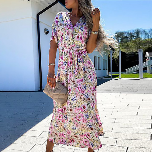 Pink Printed waistband and big hem midi dress