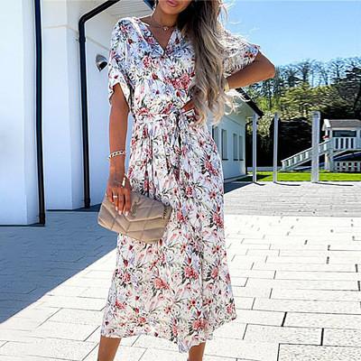 Printed waistband and big hem midi dress