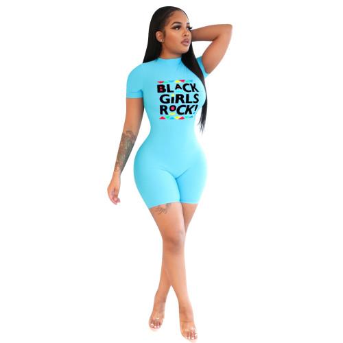 Light  blue    Casual fashion skinny zipper jumpsuit