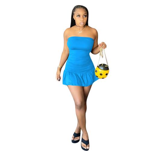 Blue   Multicolor ruffled wrap breast dress