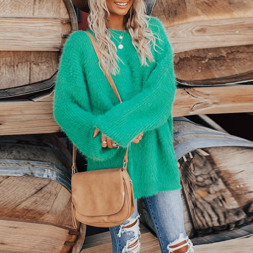 Green Round neck long sleeve casual loose ladies blouse