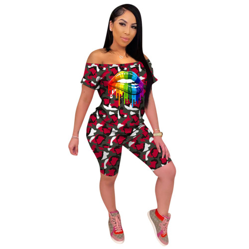 Red  Camouflage print fashion casual sports two pieces of women's clothing