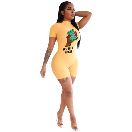 Yellow    Casual fashion skinny zipper jumpsuit