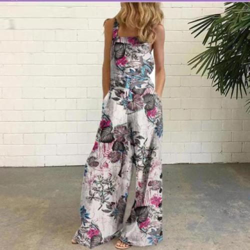 Cotton and linen print button decoration overalls
