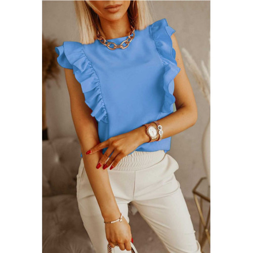 Bule Loose round neck solid color ruffled short-sleeved shirt