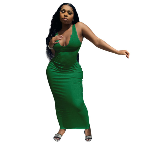 Green Camisole, deep V-neck, slim sexy long dress