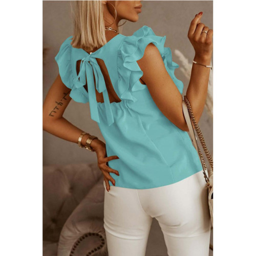 Green Loose round neck solid color ruffled short-sleeved shirt