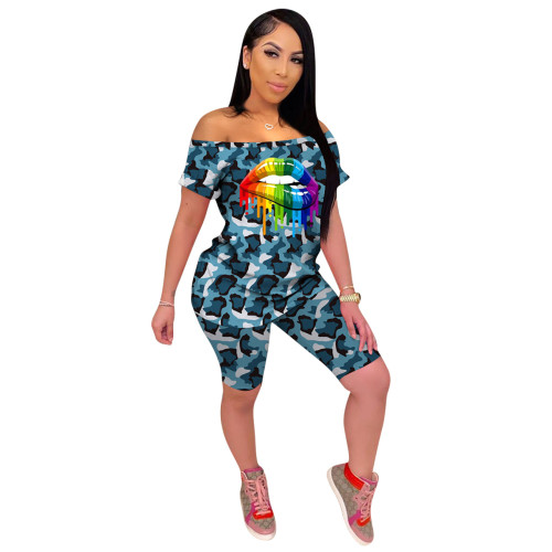 Blue  Camouflage print fashion casual sports two pieces of women's clothing