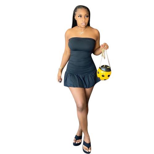 Black   Multicolor ruffled wrap breast dress