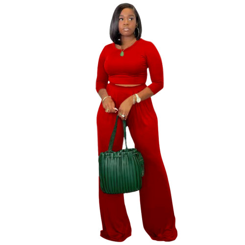 Red Women's solid color casual wide leg pants long sleeve suit