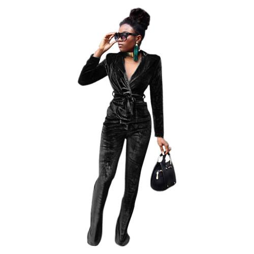 Black Pure color slim Korean velvet suit flared pants suit