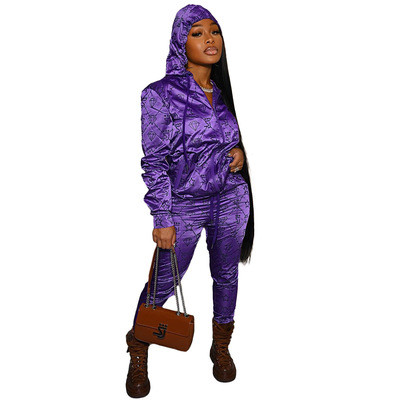 Casual letter hooded reflective satin pull frame sports suit