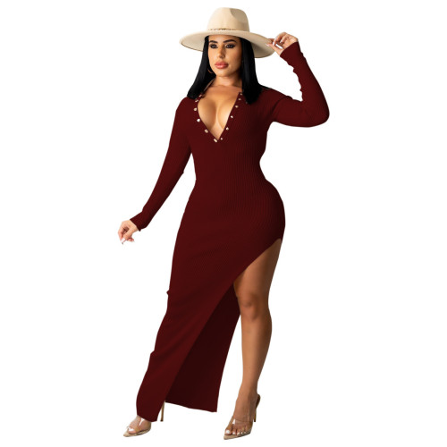 Claret Ribbed Long Sleeve Sexy Slim Halter Dress
