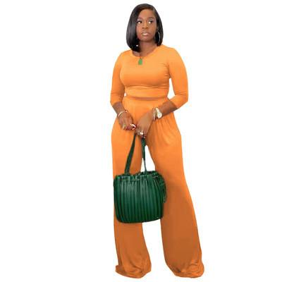 Women's solid color casual wide leg pants long sleeve suit
