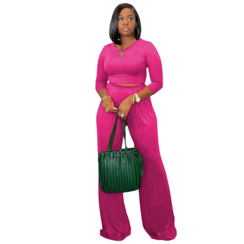 Rose red Women's solid color casual wide leg pants long sleeve suit