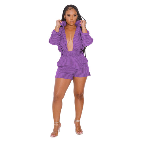 Purple  Two-piece set of new style striped printed shirts for autumn and winter