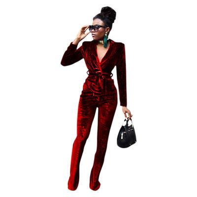 Pure color slim Korean velvet suit flared pants suit