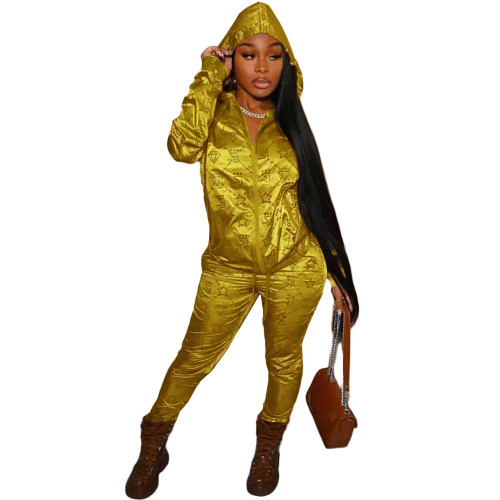 Yellow Casual letter hooded reflective satin pull frame sports suit