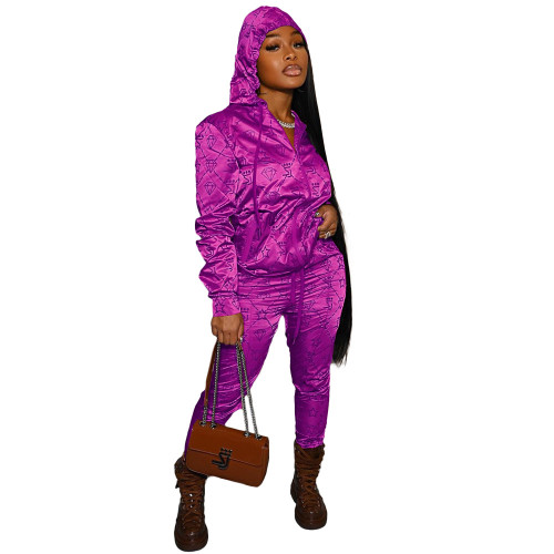 Rose red Casual letter hooded reflective satin pull frame sports suit