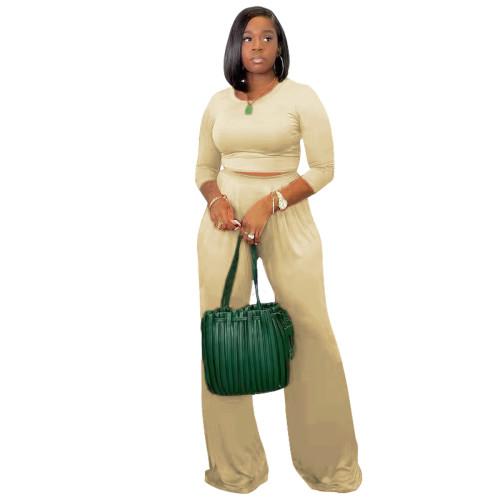 Khaki Women's solid color casual wide leg pants long sleeve suit