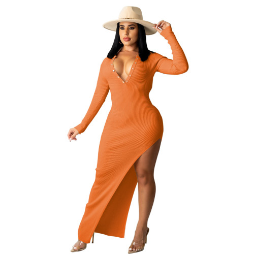 Orange Ribbed Long Sleeve Sexy Slim Halter Dress