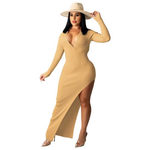 Khaki Ribbed Long Sleeve Sexy Slim Halter Dress