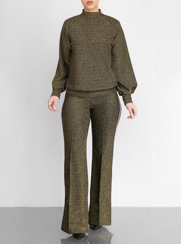 Casual fashion webbing silver silk half high collar 2-piece set
