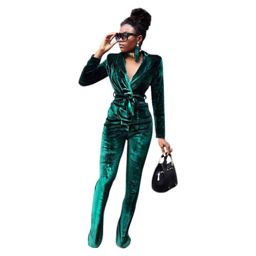 Green Pure color slim Korean velvet suit flared pants suit