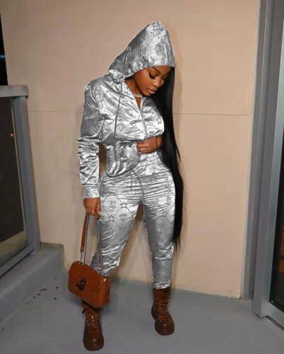White Casual letter hooded reflective satin pull frame sports suit