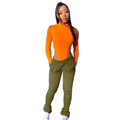 Green Fleece sweater fabric, sports casual pile pile pants, pile pants