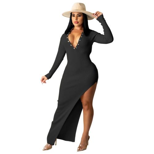 Black Ribbed Long Sleeve Sexy Slim Halter Dress