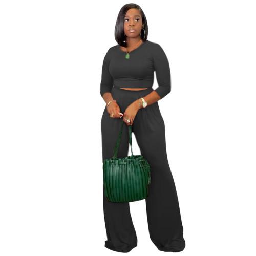 Black Women's solid color casual wide leg pants long sleeve suit