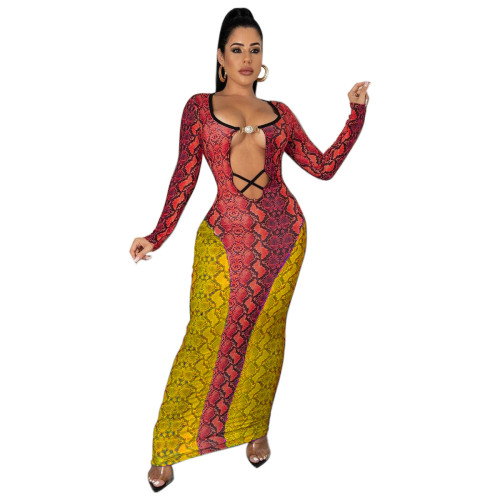 Women's casual snakeskin print skirt